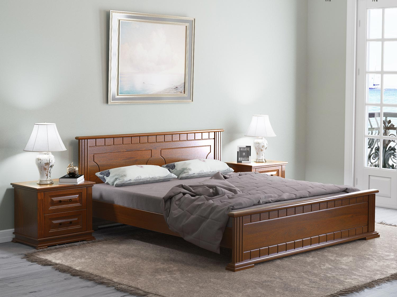 двуспальная кровать из массива оформление фото