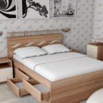 двуспальная кровать с ящиками фото декора