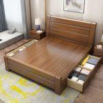 двуспальная кровать с ящиками виды дизайна