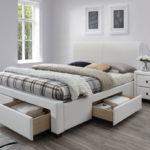двуспальная кровать с ящиками варианты декора