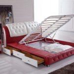 двуспальная кровать с ящиками подъемная