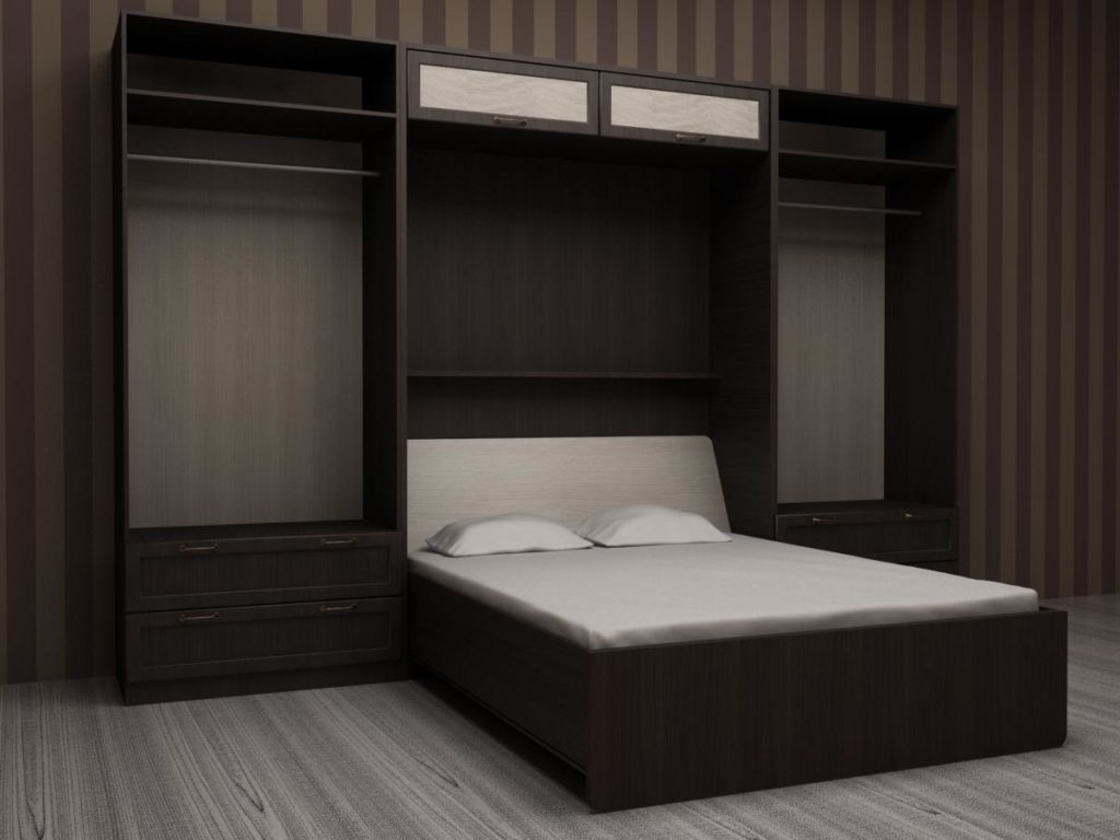 Полки вокруг кровати
