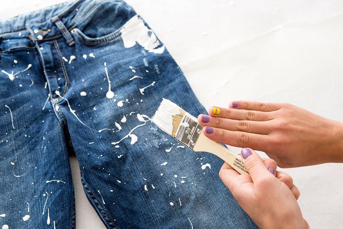 как очистить джинсы от краски