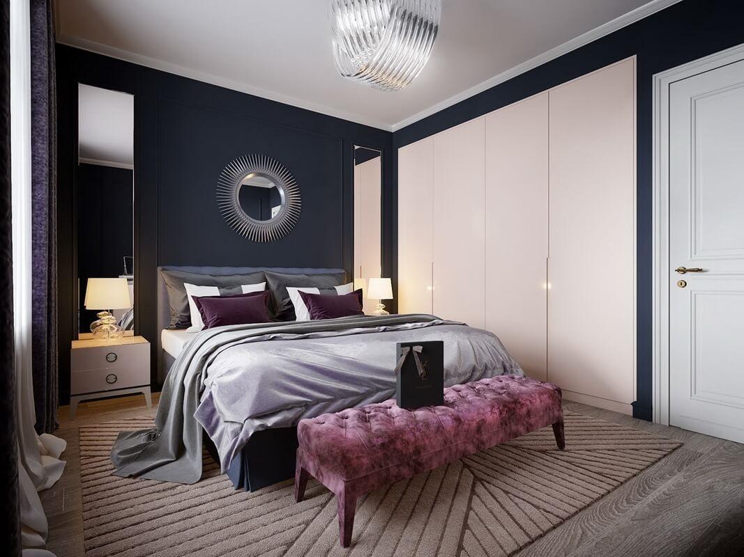 спальня с бордовыми подушками