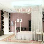 кровать с белым балдахином