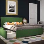 кровать выдвижная зеленая