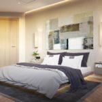 кровать двуспальная с желтыми шторами