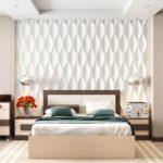 кровать с белой стеной фигурной
