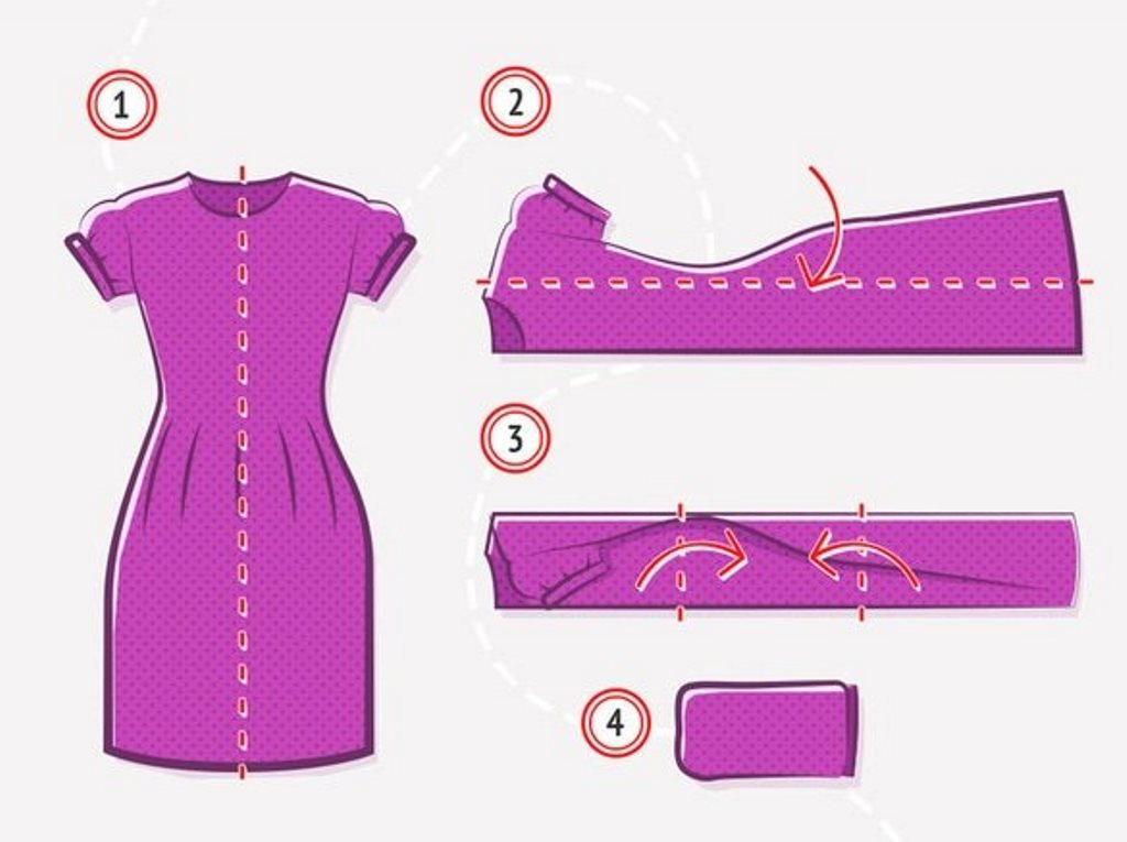как сложить платье с короткими рукавами