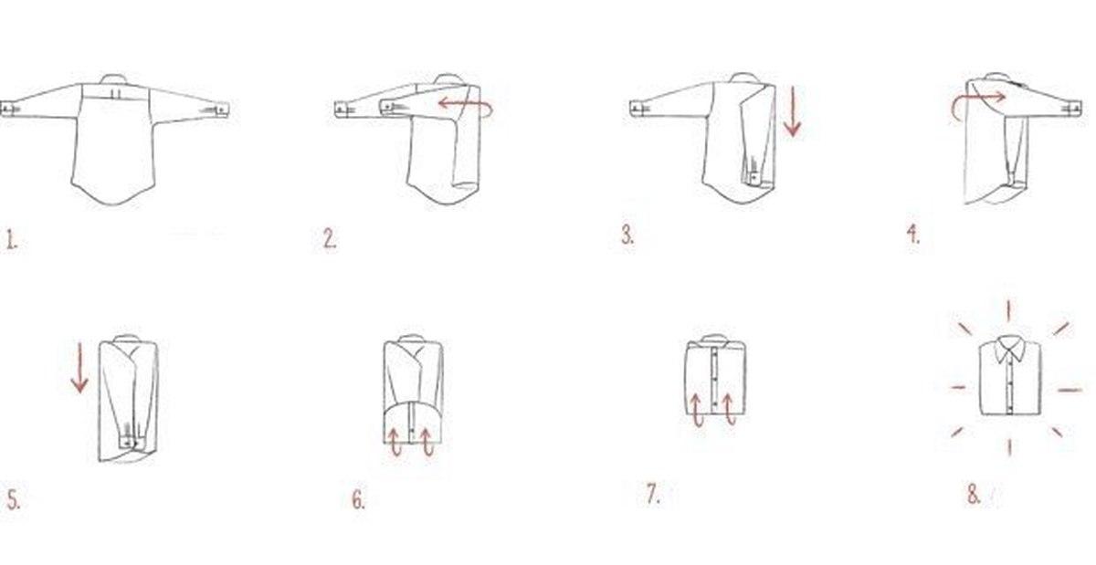 как сложить рубашки