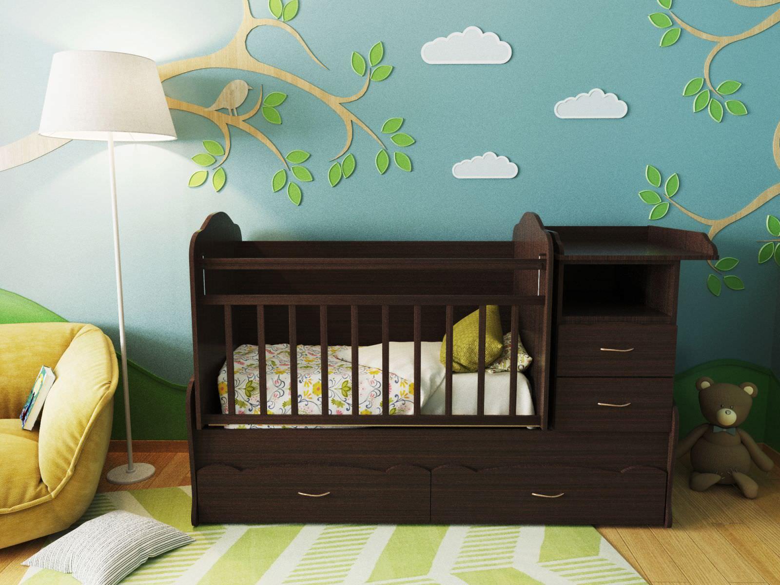 детская кровать со столом для новорожденного