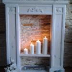 камин из картона со свечами