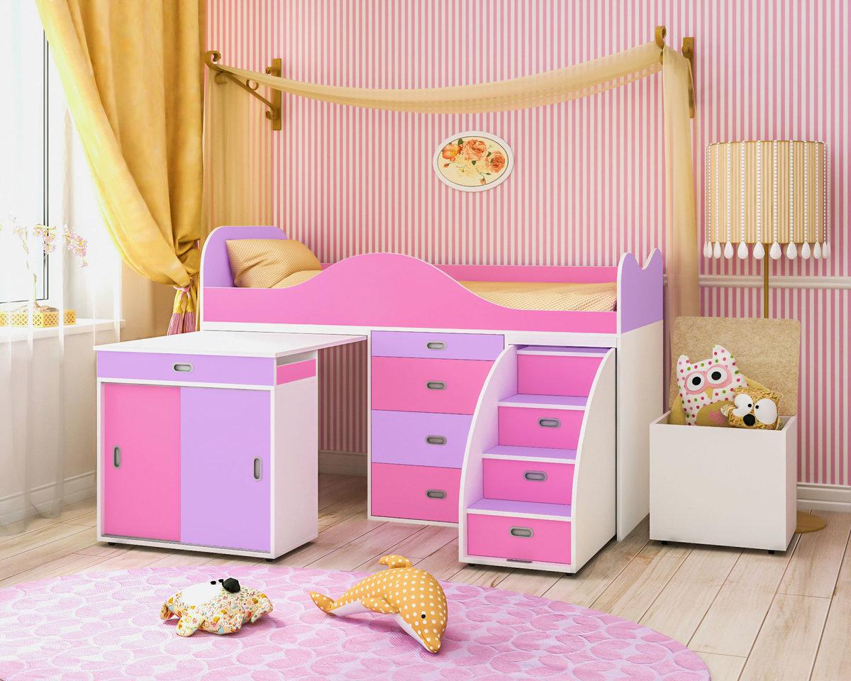 кровать со шкафчиками для девочки
