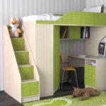 кровать-чердак зеленая