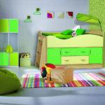 кровать-чердак салатовая