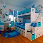 кровать-чердак синяя