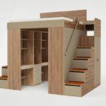 кровать-чердак со ступенями-ящиками