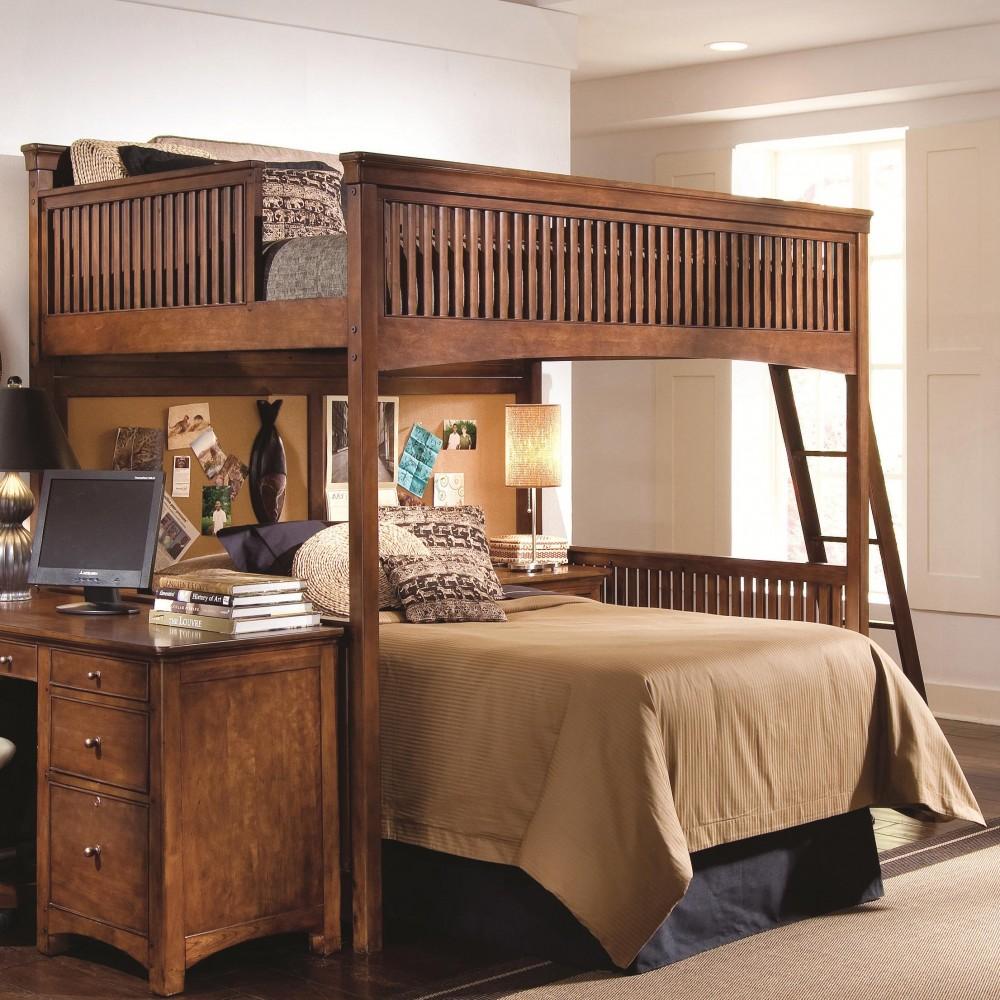 кровать-чердак коричневая