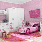 кровать-машина розовая для девочек
