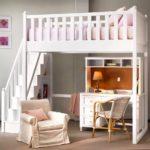 белая двухярусная кровать для девочки