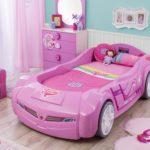 сиреневая кровать-машина для девочки