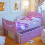 кровать для девочки со шкафчиком