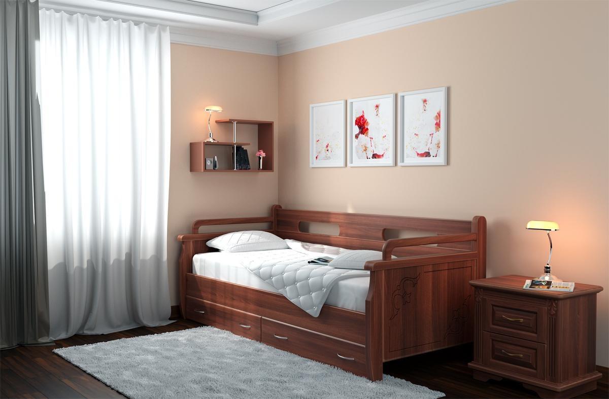 кровать для подростка возле стены