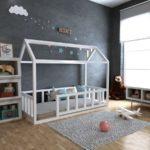 кровать-домик для детей с мячом