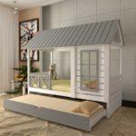 кровать-домик для детей серая крыша