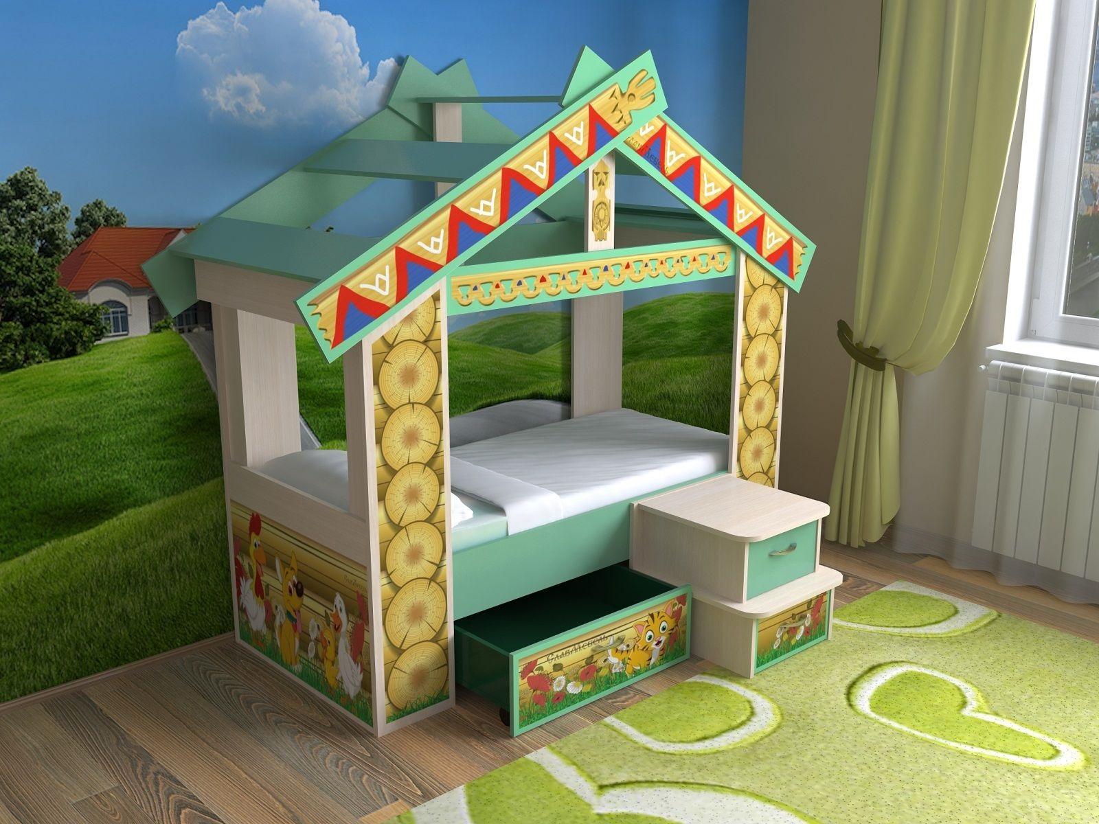 кровать-домик для детей красители