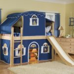 кровать-домик для детей синий замок
