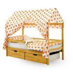 кровать-домик для детей оранжевая крыша