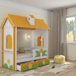 кровать-домик для детей оранжево-зеленый