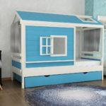 кровать-домик для детей голубой
