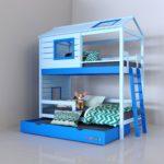 кровать-домик для детей синий