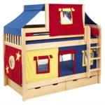 кровать-домик для детей красно-синий