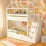 кровать-домик для детей желтый