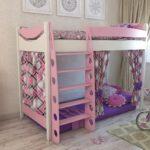 кровать-домик для детей розово-фиолетовый