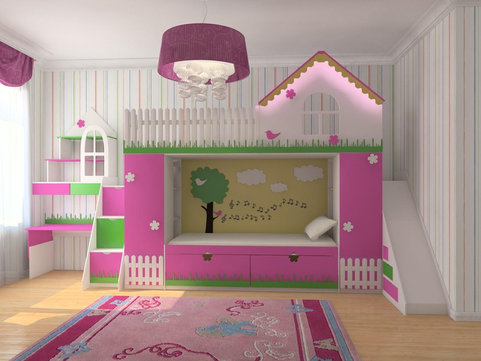 кровать-домик для детей с горкой