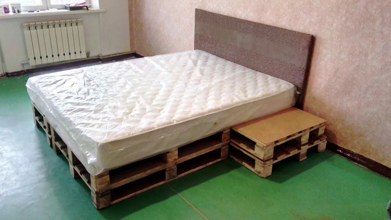 кровать из поддонов из цельных паллет