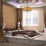кровать-подиум с люстрой