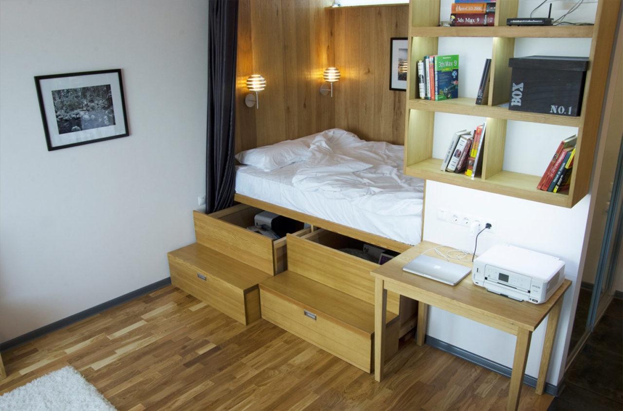 кровать-подиум высокий