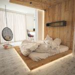 кровать-подиум с постелью