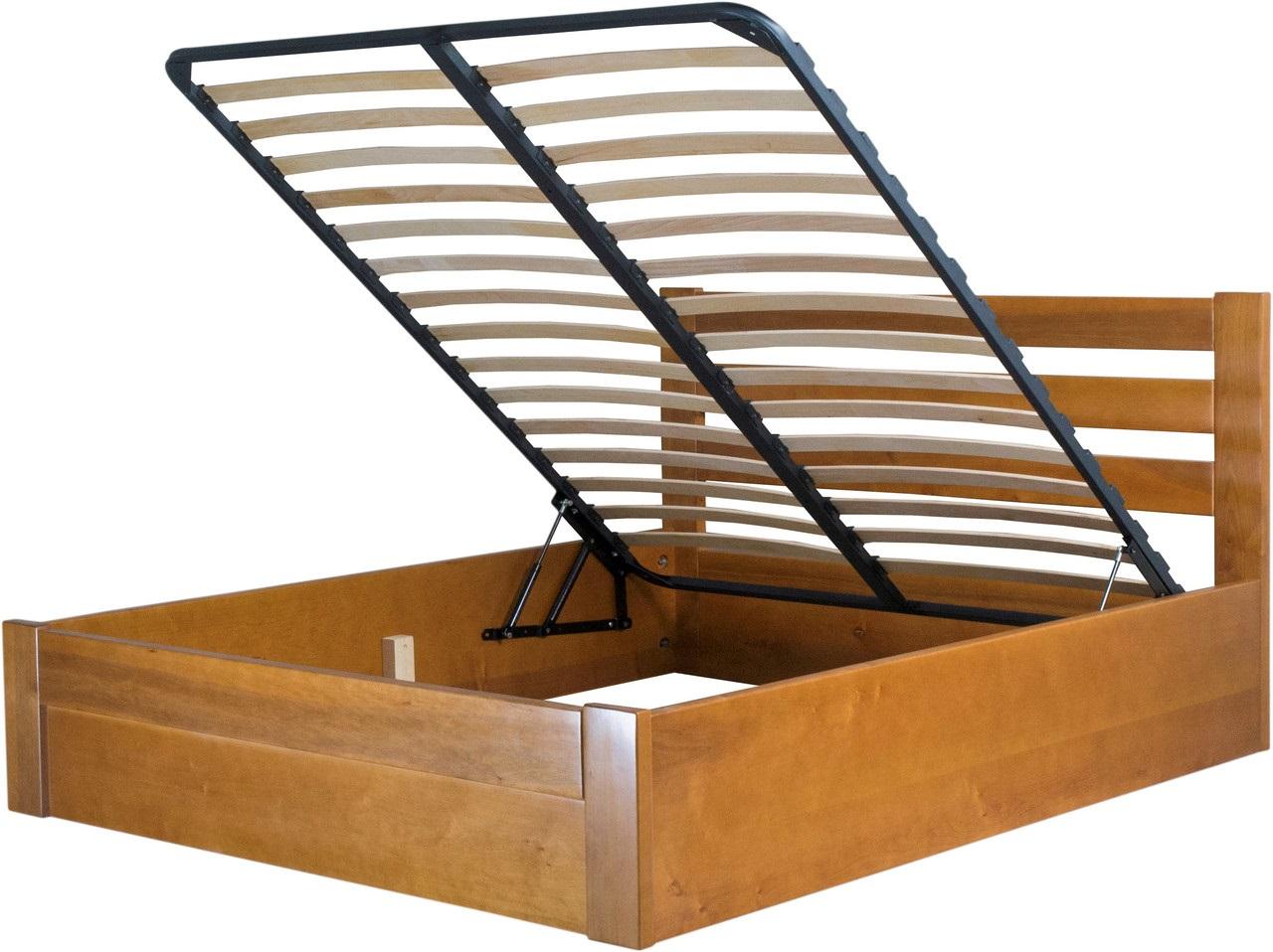 кровать с подъемным механизмом из древесины