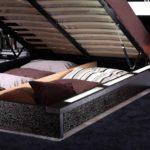 кровать с подъемным механизмом темно серая