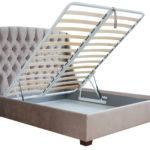 кровать с подъемным механизмом светло бежевая