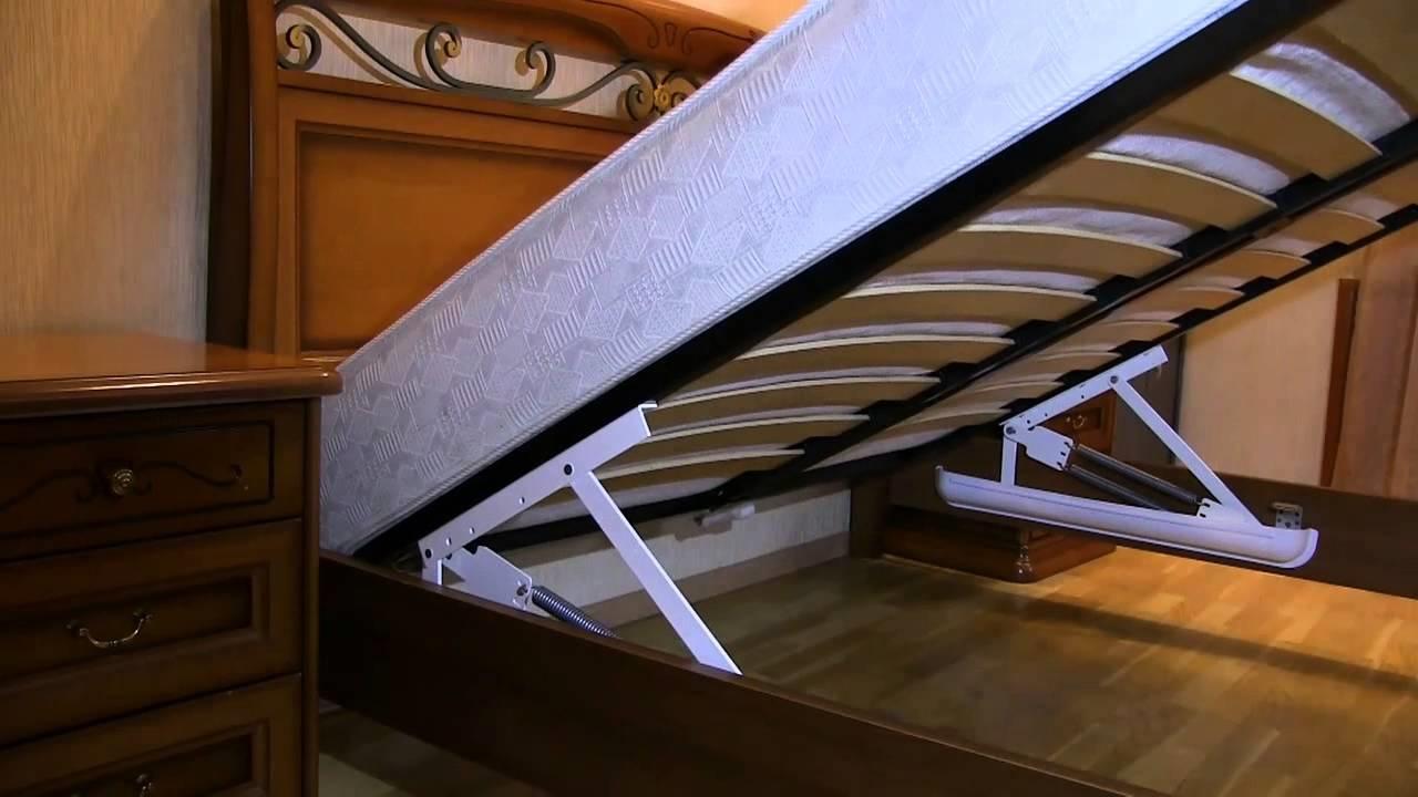 кровать с подъемным механизмом на пружинах