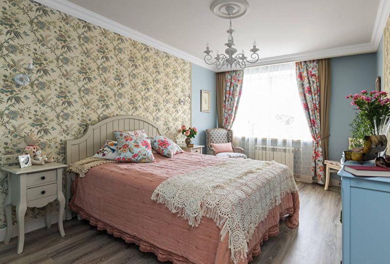 кровать с выдвижными шкафчиками в интерьере прованс