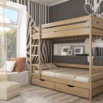 кровать с выдвижными ящиками в два уровня