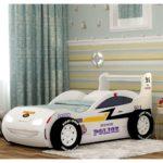 белая полицейская кровать-машина для мальчика